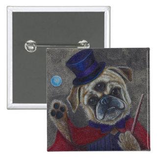 Three Eye Pug Dog Magic Show Art Print 2 Inch Square Button