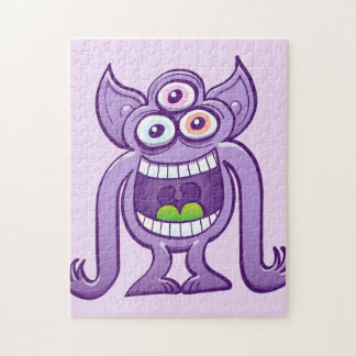 Three-eyed alien monster laughing mischievously jigsaw puzzle