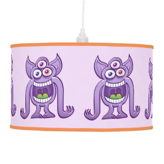 Three-eyed alien monster laughing mischievously pendant lamp