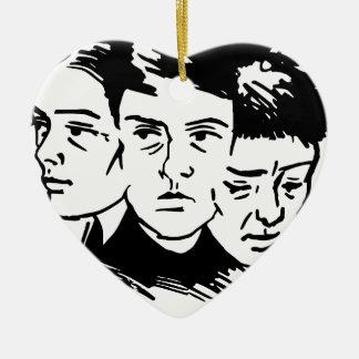 three faces ceramic ornament