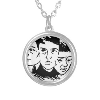 three faces silver plated necklace
