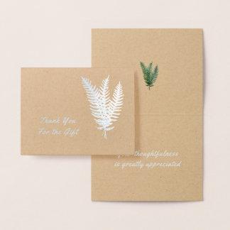 Three Ferns Silver Foil Thank You Card