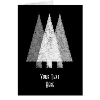 Three Festive Trees. White on Black. Card