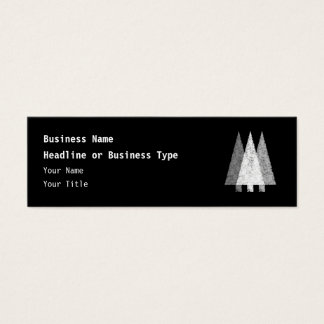 Three Festive Trees. White on Black. Mini Business Card