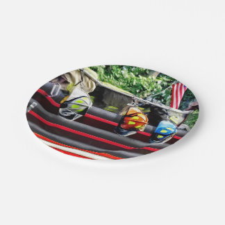 Three Fire Helmets On Fire Truck 7 Inch Paper Plate
