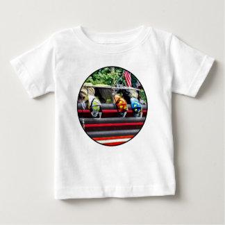 Three Fire Helmets on Fire Truck Baby T-Shirt