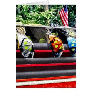 Three Fire Helmets On Fire Truck Card