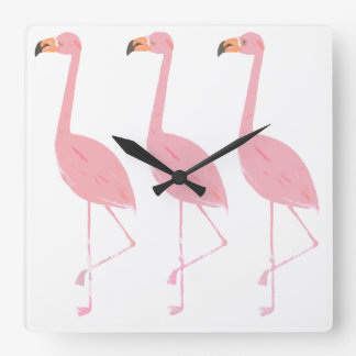 Three Flamingos Clock