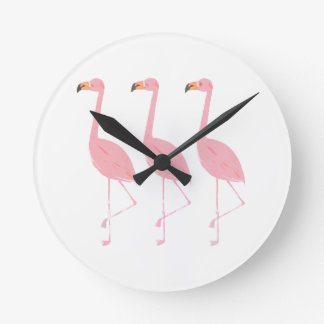 Three Flamingos Round Clock