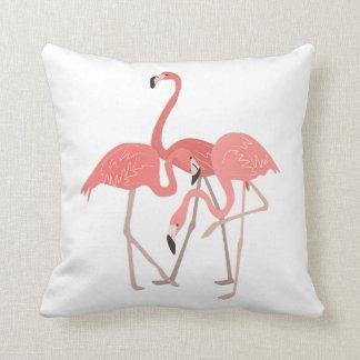 Three Flamingos Tropical Throw Pillow