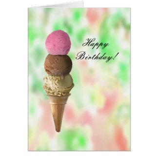 Three Flavors Ice Cream Cone Happy Birthday Day Greeting Card