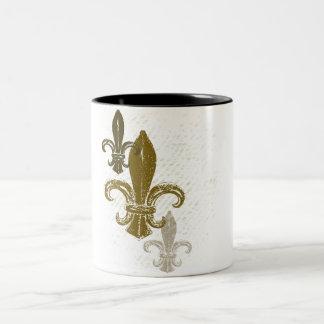Three Fleur De Lis Two-Tone Coffee Mug