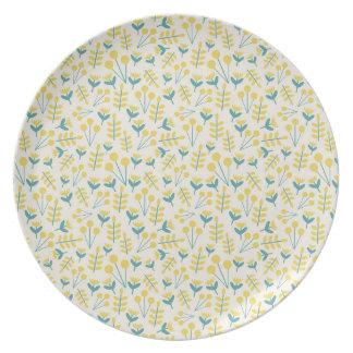 three flowers melamine plate
