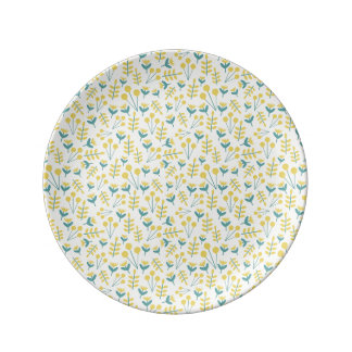 three flowers porcelain  plate