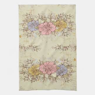 Three Flowers, Vintage Country Floral Kitchen Towel