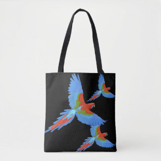 Three Flying Macaws Tote Bag