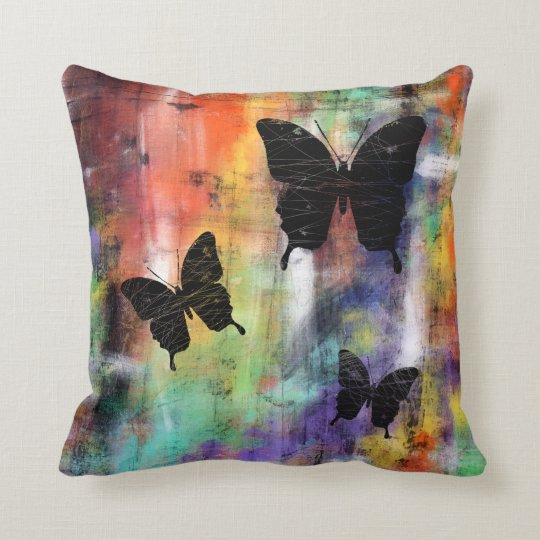 Three Free Butterflies Throw Pillow