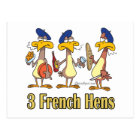 three french hens 3rd third day of christmas postcard