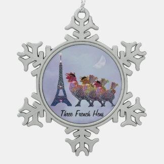 Three French Hens Snowflake Ornament