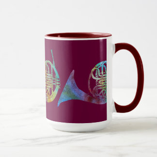 Three French Horns on Burgandy Mug