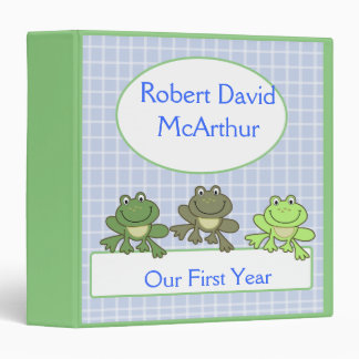 THREE FROG Froggy Baby Scrapbook First Year 3 Ring Binders