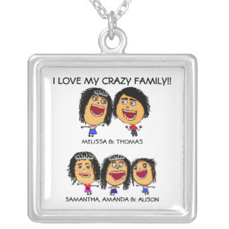 Three Funny Daughters Cartoon Necklace