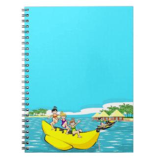Three funny friendly in a boat banana notebook