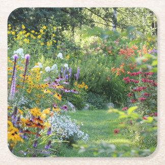 Three Gardens Meet Square Paper Coaster