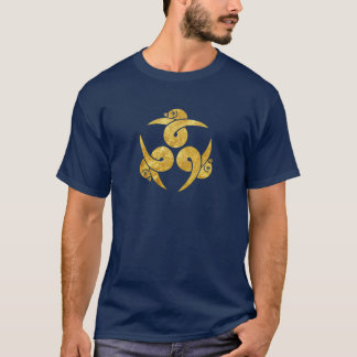 Three Geese Japanese Kamon in faux gold T-Shirt