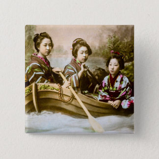 Three Geisha in a Row Boat Vintage Glass Slide 2 Inch Square Button