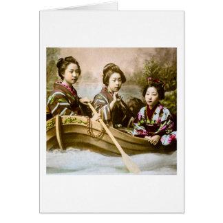 Three Geisha in a Row Boat Vintage Glass Slide Greeting Card