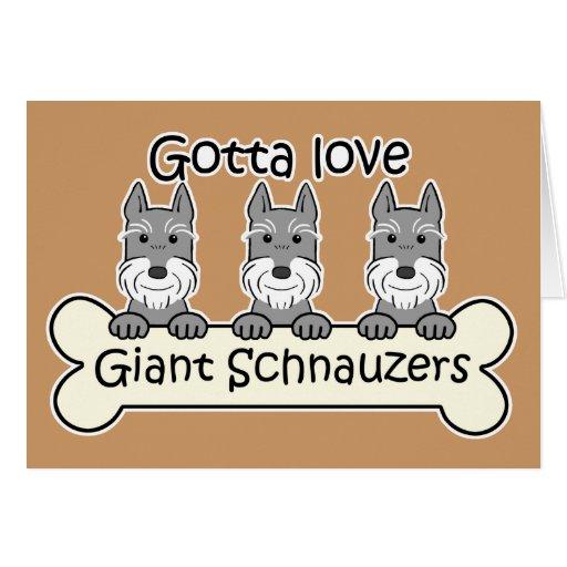 Three Giant Schnauzers Greeting Card
