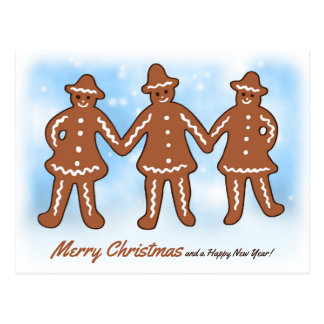 Three gingerbread men CC0206 Christmas Postcard