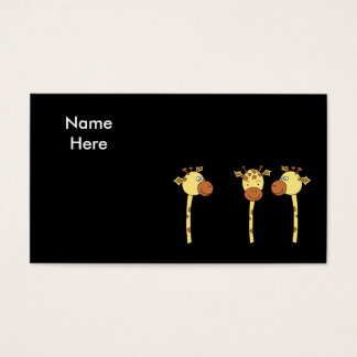 Three Giraffes Cartoon. Business Card
