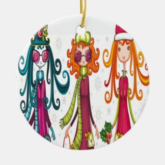 Three girls design ceramic ornament