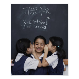 Three girls in classroom whispering poster