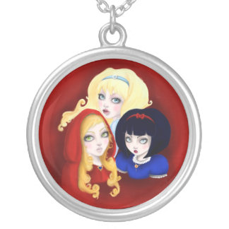 Three girls of fairy tales silver plated necklace