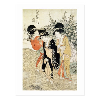 Three girls paddling in a river, from the 'Fashion Postcard