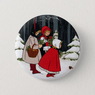 Three Girls with Mistletoe Vintage Christmas 2 Inch Round Button