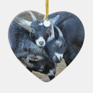Three Goats Butting Heads Heart Shaped Ceramic Ornament