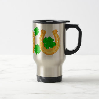 Three Golden Horseshoes Seven Lucky Shamrocks Travel Mug
