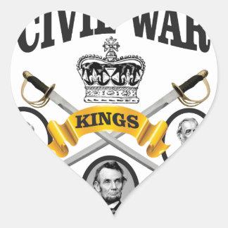 three great leaders of Civil war Heart Sticker