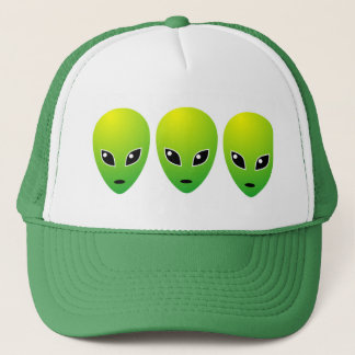Three Green Aliens - Customized Trucker Hat