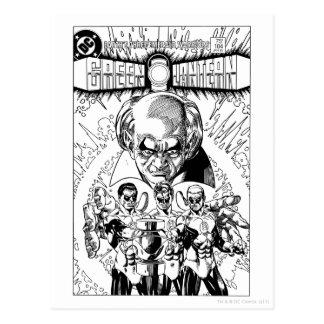 Three Green Lanterns Comic Cover, Black and White Postcard