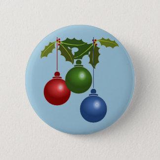 Three Hanging Christmas Balls 2 Inch Round Button
