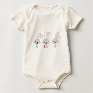 Three happy creative Grey Bunnies Baby Bodysuit