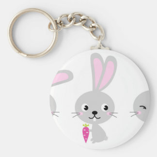 Three happy creative Grey Bunnies Basic Round Button Keychain