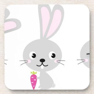 Three happy creative Grey Bunnies Beverage Coaster