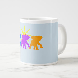 Three Happy elephants Large Coffee Mug