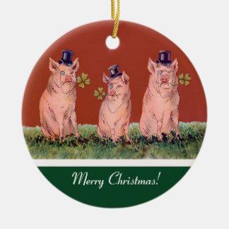 Three Happy Pigs  - Funny Christmas Ornament